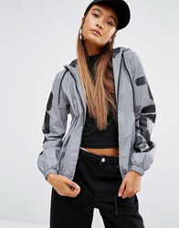 Fila Hooded Jacket With Zip Front And Sleeve Logo In Reflective Silver Silver