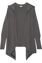 Splendid Hooded Stretch Supima Cotton And Modal Blend Cardigan Gray