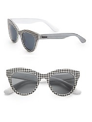Minkpink 50Mm Gingham Cat's Eye Sunglasses Black White