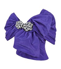 Moschino Taffeta Embellished Crop Top Female Purple