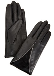 Dents Layla Black Leather And Calf Hair Gloves