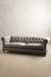 Linen Lyre Chesterfield Sofa Hickory Anthropologie.Com