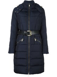 Michael Michael Kors Quilted Belted Coat Blue