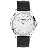 Montblanc 112515 Men's Heritage Chronometrie Ultra Slim Alligator Leather Strap Watch Black Silver