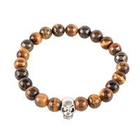 Latelita London Skull Bracelet Sterling Silver Tigers Eye Silver Brown