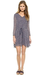 Band Of Outsiders Scribble Flower Drawstring Dress Midnight