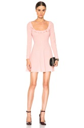 Red Valentino Sheer Yoke Mini Dress In Pink Neutrals