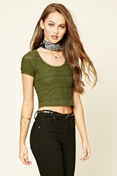 Forever 21 Chevron Knit Crop Top Olive Nude