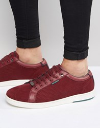 Ted Baker Owenn Suede Trainers Red