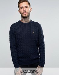 Farah Jumper With Cable Knit Exclusive Navy