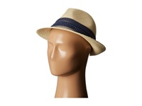 Hat Attack Classic Panama Fedora Natural Navy Dot Fedora Hats Beige