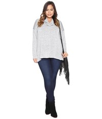 Lucky Brand Plus Size Cowl Neck Tunic Heather Grey Women's Clothing Gray