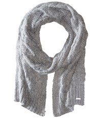 Calvin Klein Fuzzy Cable Scarf Heathered Mid Grey Scarves Blue
