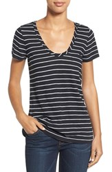 Caslonr Petite Women's Caslon Relaxed Slub Knit U Neck Tee Black White Julia Stripe