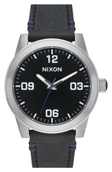 Men's Nixon 'G.I.' Round Dial Leather Strap Watch 36Mm