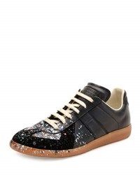 Maison Martin Margiela Pollock Paint Splatter Leather And Suede Low Top Sneaker Black