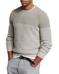 Brunello Cucinelli Colorblock Crewneck Sweater Beige