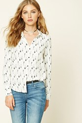 Forever 21 Guitar Print Collared Shirt