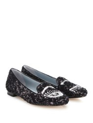 Chiara Ferragni Flirting Sequin Loafers Black Silver