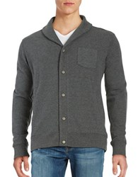Black Brown Shawl Collar Cotton Blend Cardigan Dark Grey