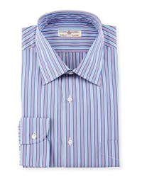 Luciano Barbera Striped Woven Sport Shirt Blue Pink