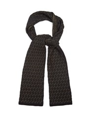 Fendi Logo Intarsia Knit Wool Scarf Black