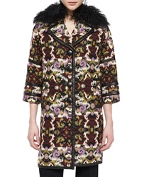 Andrew Gn Fur Collar Tapestry Caban Coat