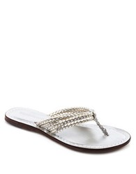 Bernardo Miami Leather Thong Sandals Gold Silver
