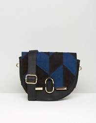 Faith Suedette Saddle Bag In Patchwork Multi