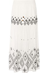 Rachel Zoe Embroidered Silk And Cotton Blend Maxi Skirt Ivory