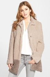 Kenneth Cole 'Teddy Bear' Colorblock Faux Fur Coat Regular And Petite Online Only Ivory Natural