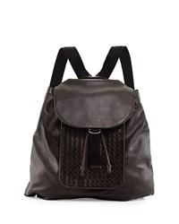 Woven Leather Backpack Brown Bottega Veneta