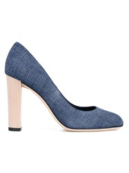 Jimmy Choo Laria Denim Wood Pumps Blue