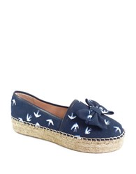 Kate Spade Linda Bird Print Bow Leather Trim Espadrille Flats Navy Blue