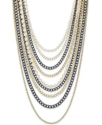 Thalia Sodi Gold Tone And Black Imitation Pearl Multi Row Necklace Only At Macy's Blk Wht