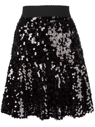 Dolce And Gabbana Sequinned Peplum Skirt Black