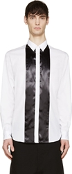 Comme Des Garcons White And Black Satin Panelled Shirt