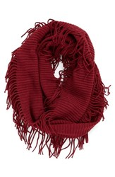 Women's Bp. Rib Knit Fringe Infinity Scarf Red Rumba