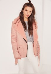 Missguided Faux Suede Shearling Lined Biker Jacket Pink