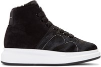 Alexander Mcqueen Black Calf Hair High Top Sneakers