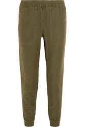 Nlst Cotton And Hemp Blend Track Pants Army Green