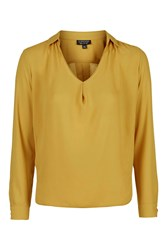 Topshop Long Sleeve Cowl Collar Blouse Mustard