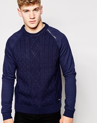 Firetrap Cable Knit Jumper Navy