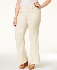 Nydj Plus Size Claire Wide Leg Linen Trousers Cotton Seed