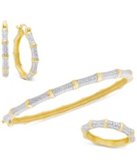 Victoria Townsend Diamond 3 Pc Set 1 4 Ct. T.W. Bamboo Look Bangle Ring And Hoop Earrings In 18K Gold Plated Sterling Silver Yellow Gold