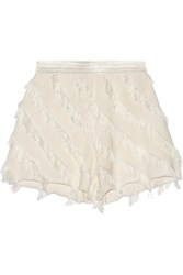 Sandro Pandora Frayed Silk Trimmed Twill Shorts White