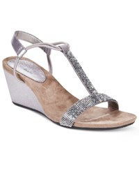 Styleandco. Style And Co. Mulan2 Embellished Evening Wedge Sandals Only At Macy's Women's Shoes Gunmetal Grey