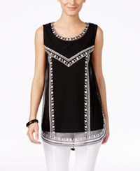 Alfani Petite Embroidered Tank Top Only At Macy's Deep Black