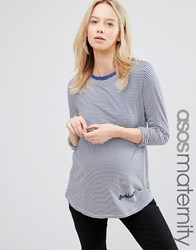Asos Maternity Top With Troublemaker Embroidery In Long Sleeve Stripe Black White Stripe Multi