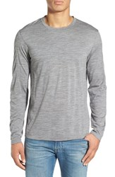 Ibex Men's 'Od' Merino Wool Long Sleeve Crewneck T Shirt Stone Grey Heather